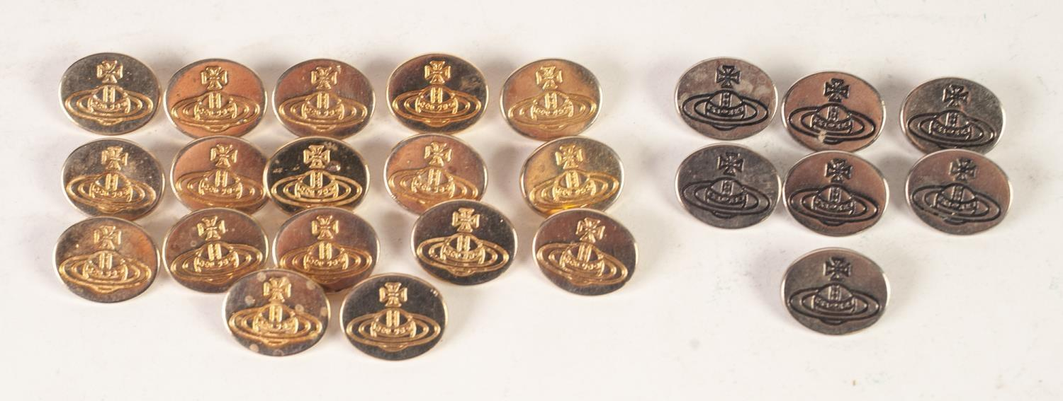 Lot 258 - SET OF SEVENTEEN VIVIENNE WESTWOOD GILT METAL BUTTONS, oval with embossed logo, 2cm x 1.8cm,