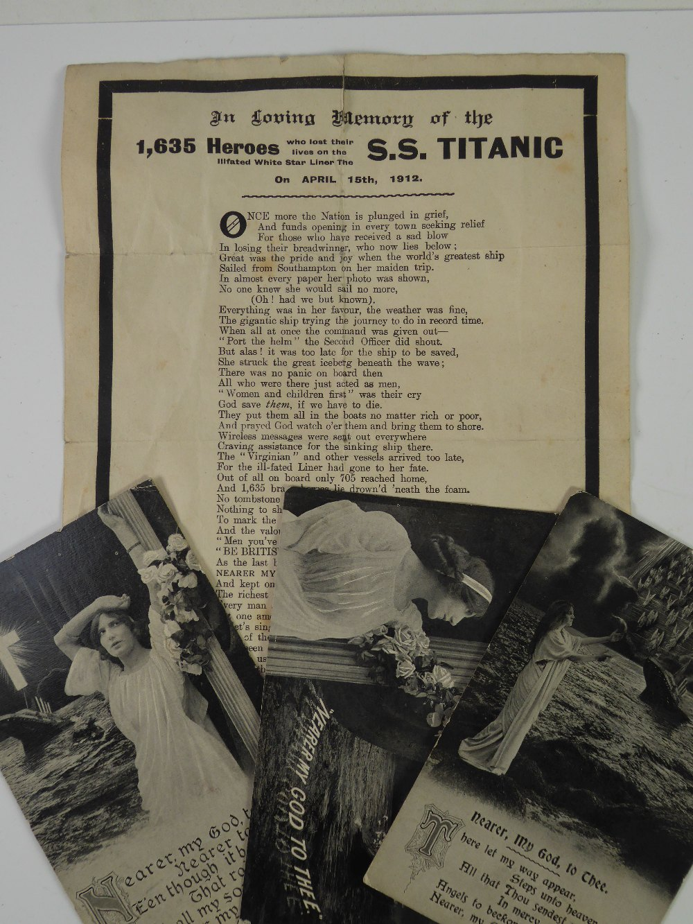 Lot 177 - W.J. REEVES 'TITANIC' DISASTER RELIEF FUND PRINTED VERSE, titled 'In Loving Memory of the 1635
