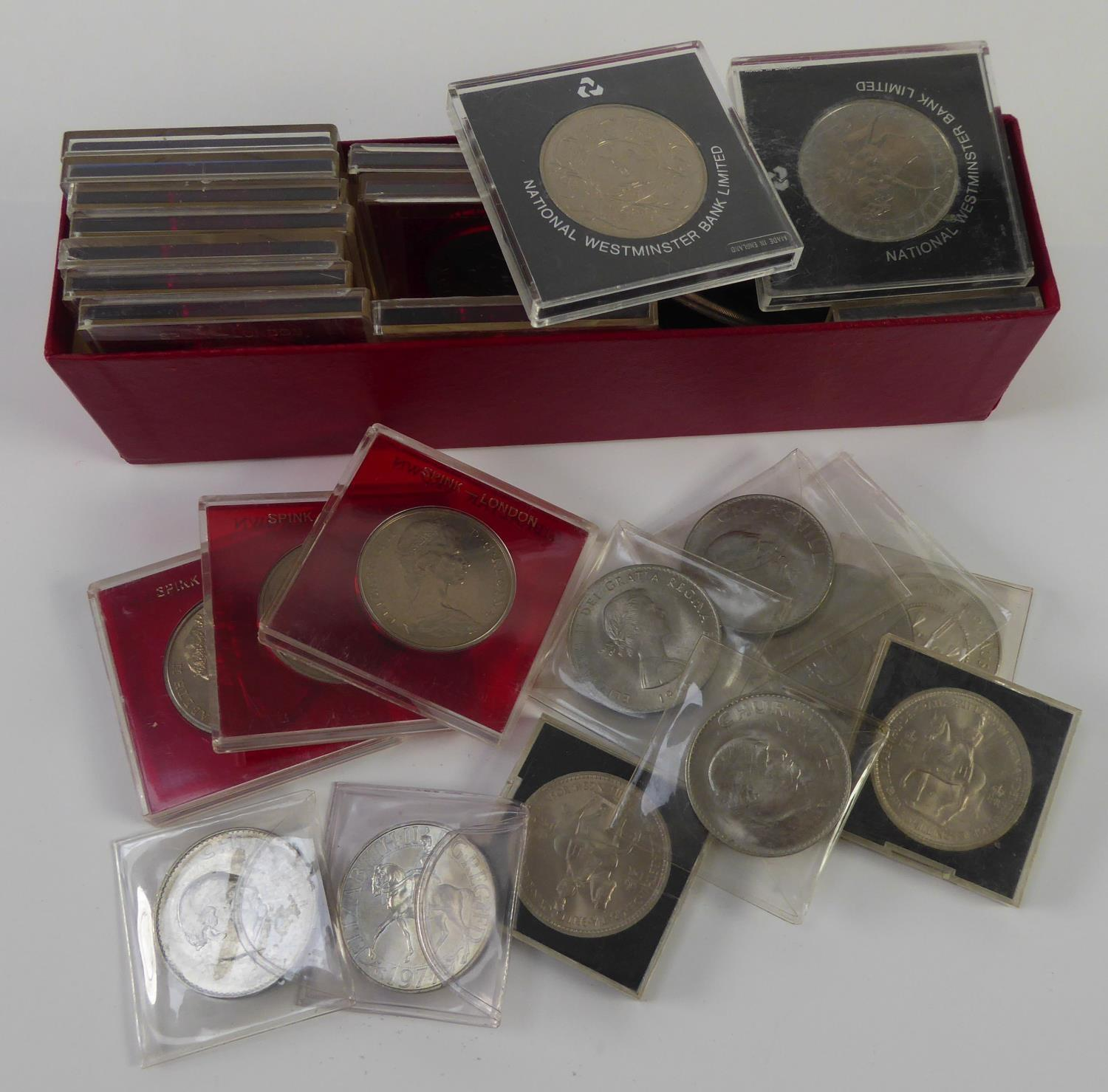 THIRTEEN QUEEN ELIZABETH II UNCIRCULATED GIBRALTAR CROWN COINS, each in Spink, London hard plastic
