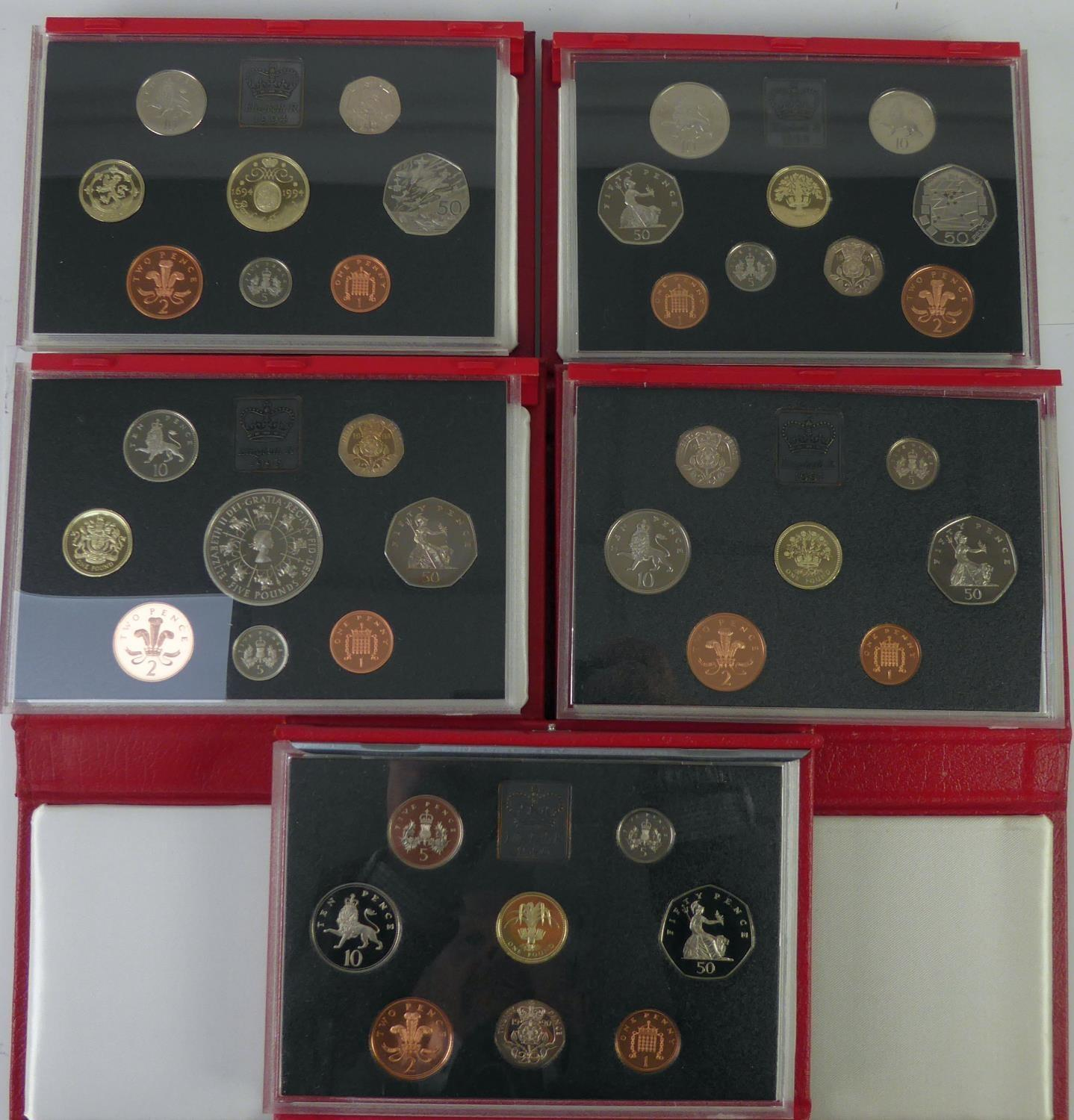 Lot 67 - ROYAL MINT ISSUED COMMEMORATIVE COIN SETS 1990-1999, in original boxes unused (6)