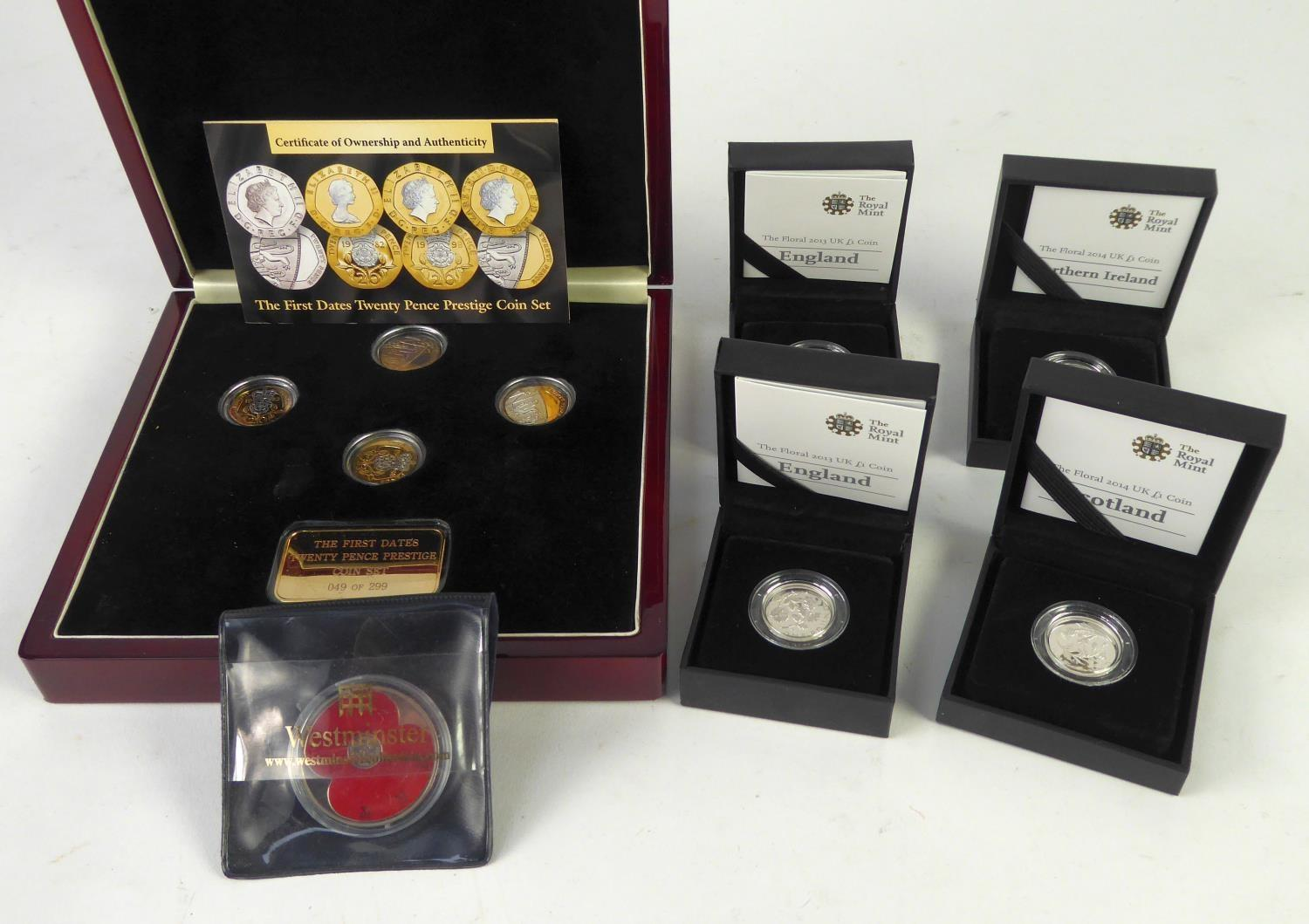 "Lot 53 - FOUR ROYAL MINT LIMITED EDITION SILVER ONE POUND COINS ""ICONS OF A NATION"" viz 2013 England x 2,"