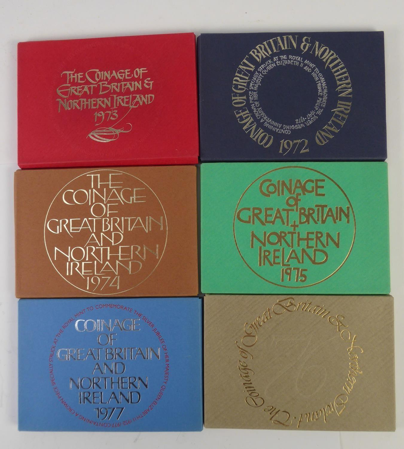 Lot 63 - ROYAL MINT ISSUED COMMEMORATIVE COIN SETS 1972-1977, in original boxes unused (6)
