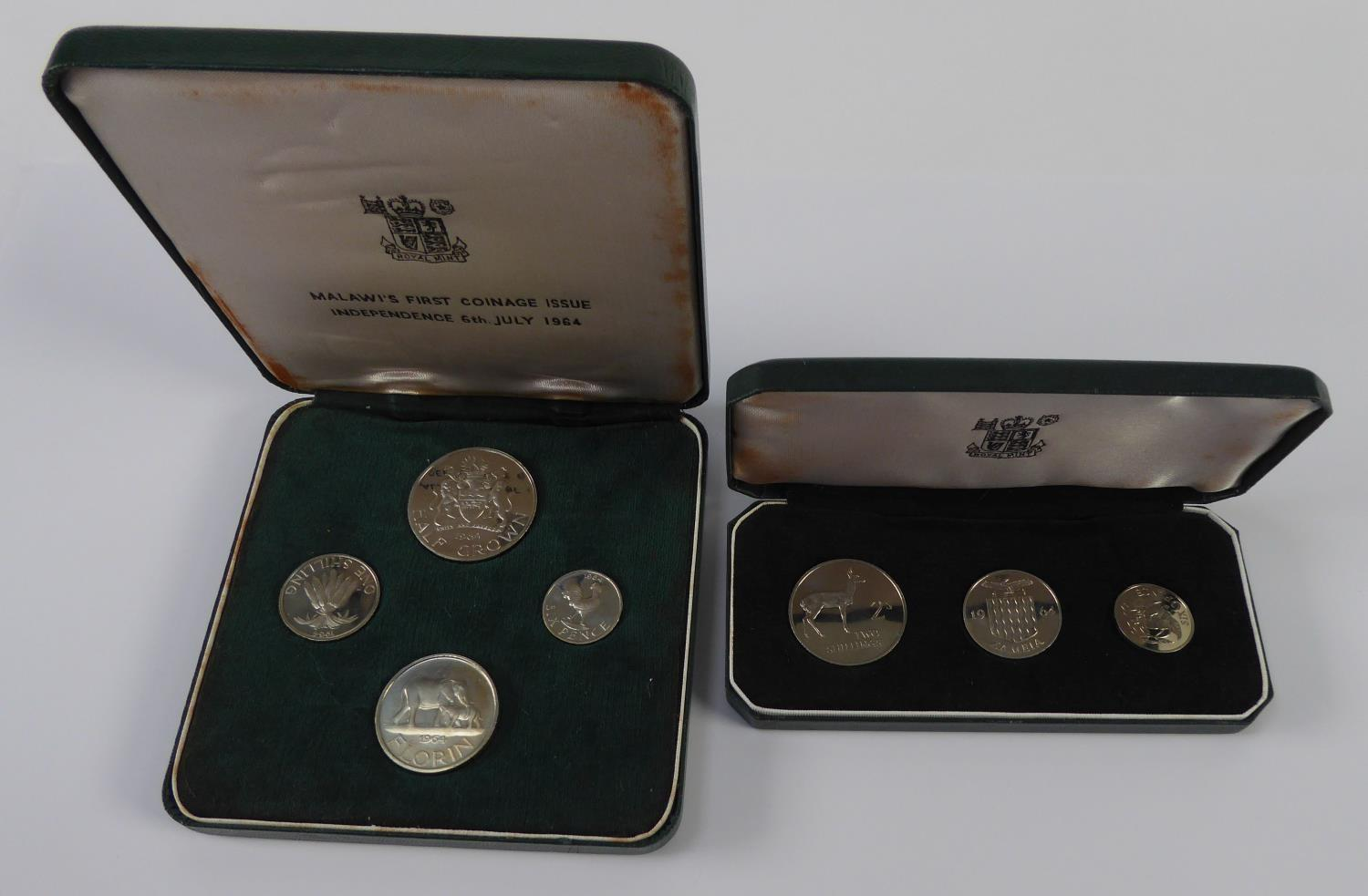 Lot 35 - TWO ROYAL MINT PROOF COIN SETS viz Malawi first coinage issue Independence, 6th July 1964, four