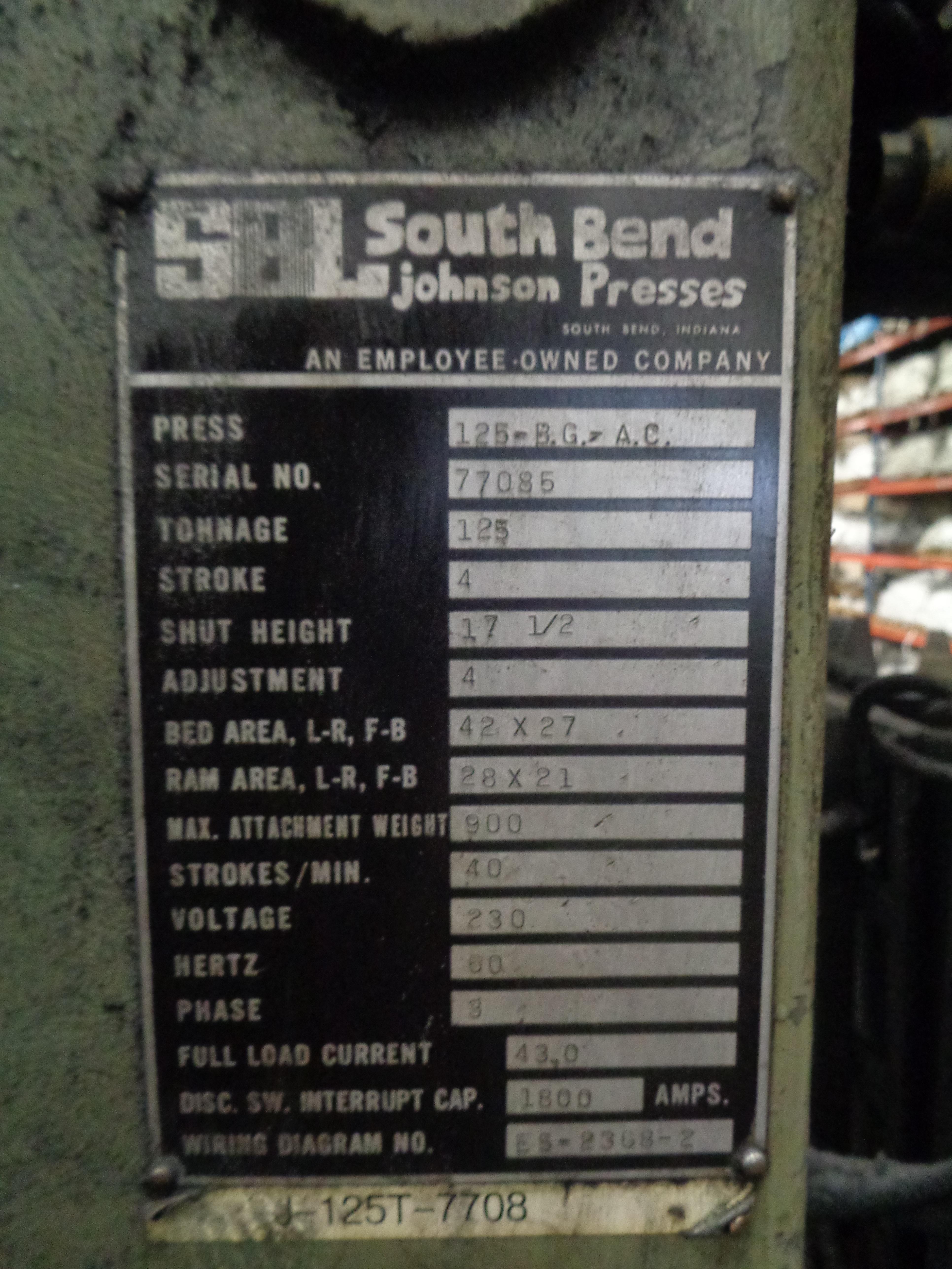 South Bend Press 125 Ton Located in Swedsboro NJ - Image 6 of 6