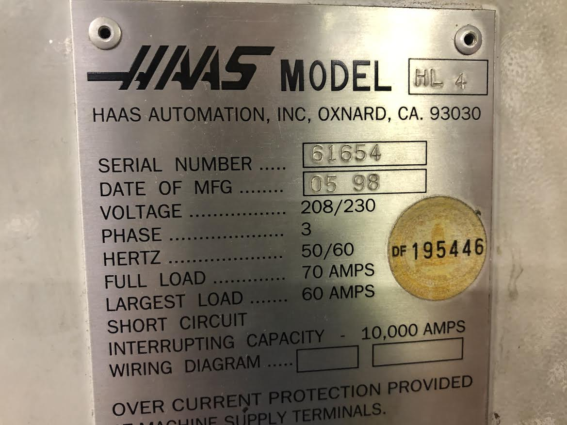 Haas HL4 CNC Lathe With Bar Feeder - Image 4 of 4
