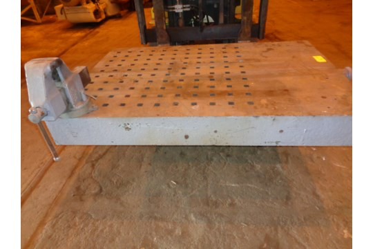 """72"""" x 49"""" Acorn Table with Vice (#60) - Image 2 of 13"""