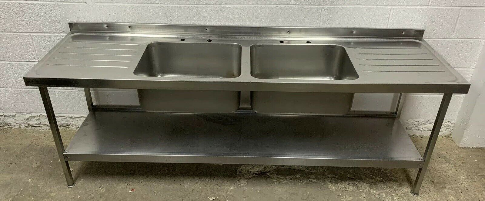 Lot 44 - Stainless Steel Double Bowl Sink With Double Drainer and Upstand