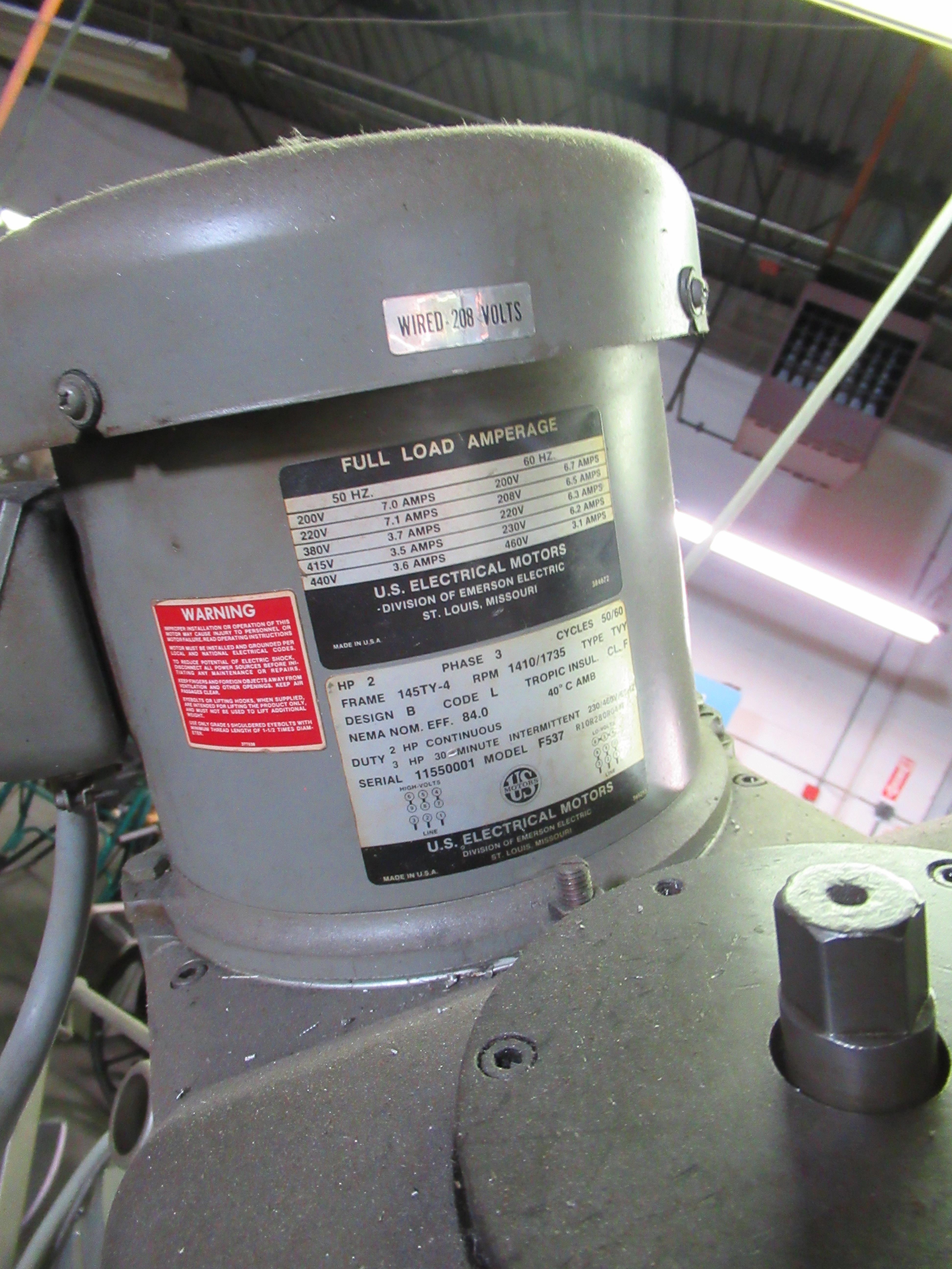 "BRIDGEPORT 2HP VERTICAL MILLING MACHINE, 9"" X 42"" TABLE, 60-4200 RPM, SERVO FEED TABLE, S/N: - Image 6 of 8"
