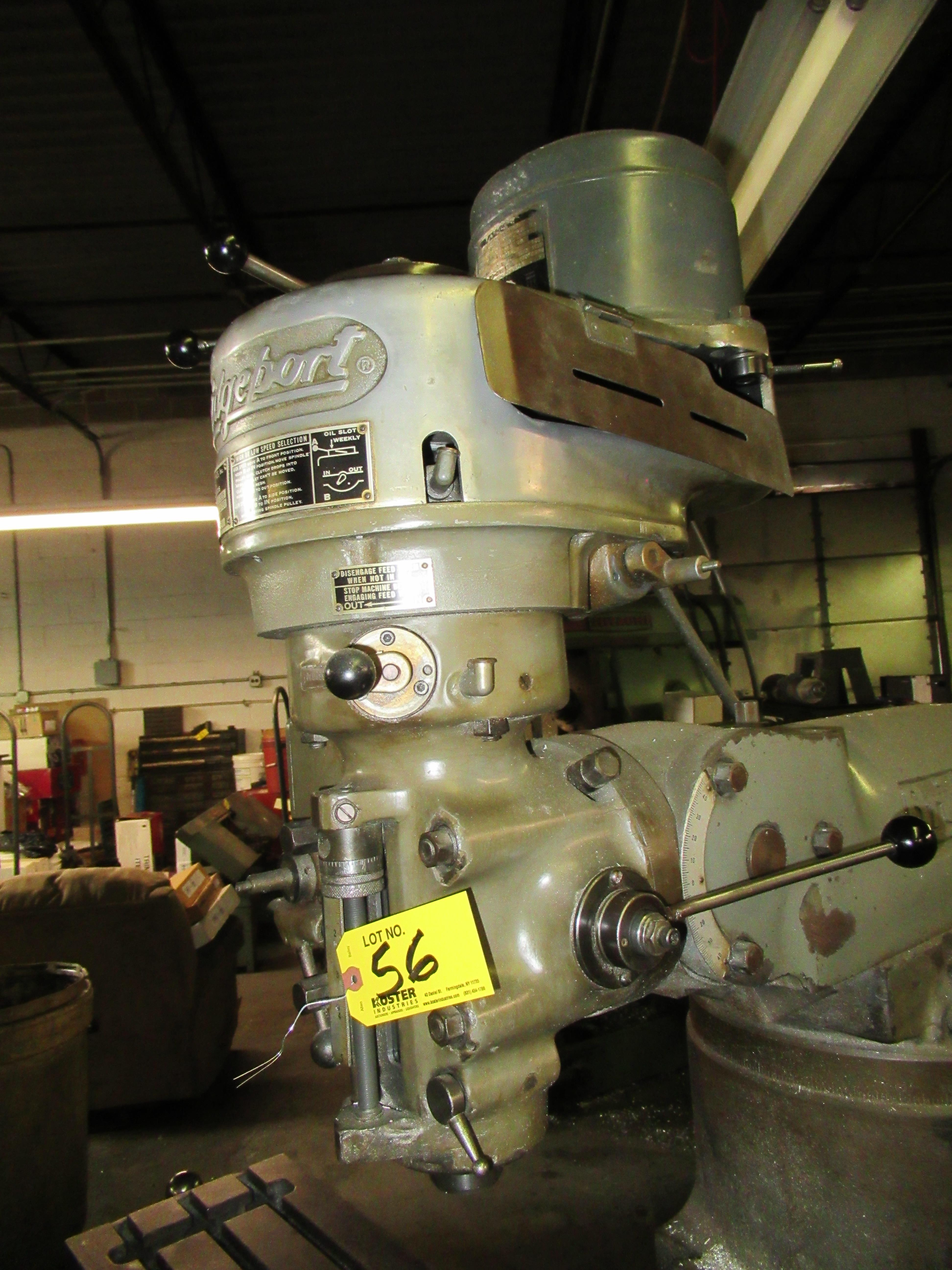 "Lot 56 - BRIDGEPORT 1HP VERTICAL MILLING MACHINE, 9"" X 36"" TABLE, 80-2720 RPM, S/N: 12BR85473 (VISES NOT"