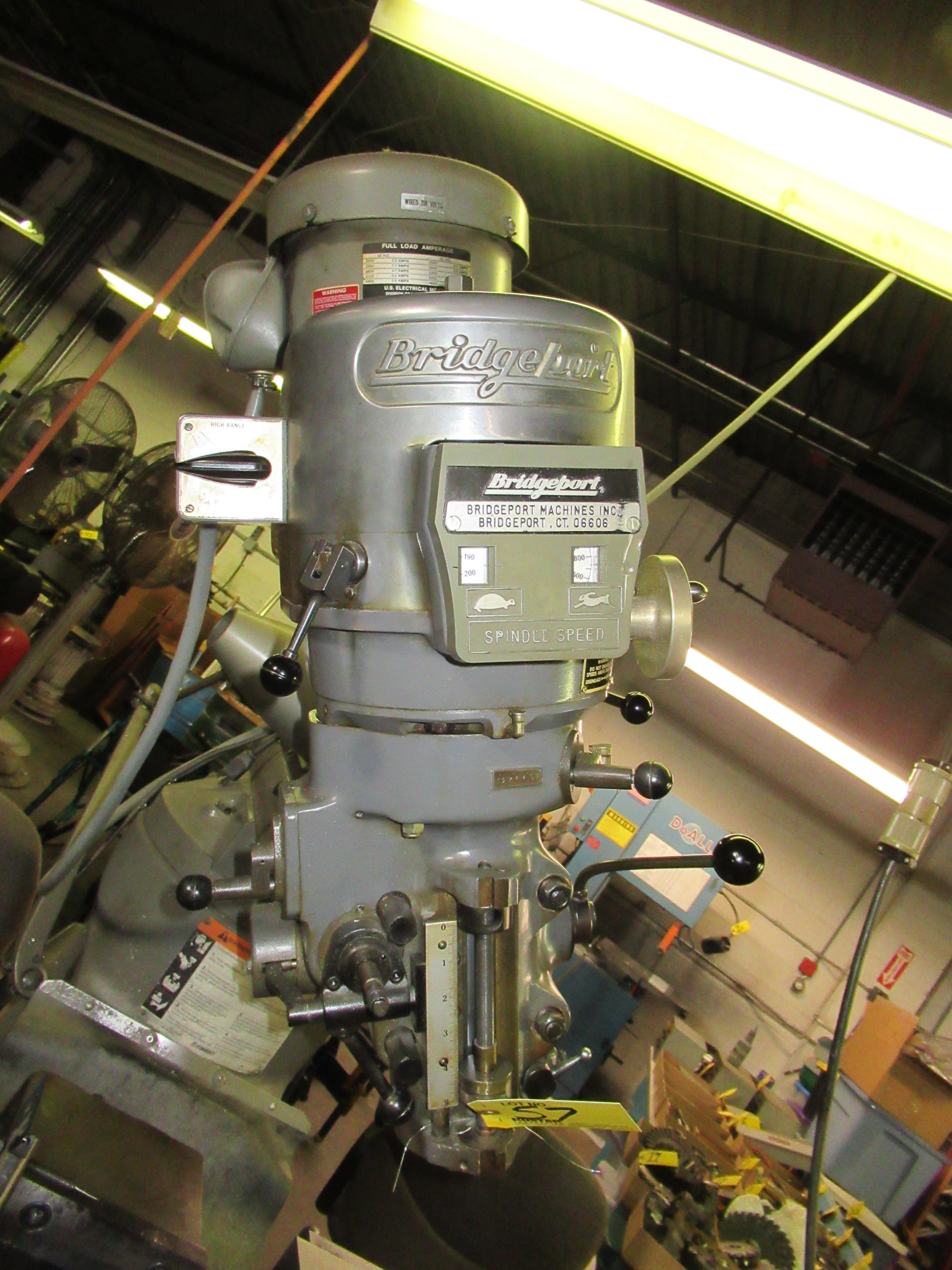"BRIDGEPORT 2HP VERTICAL MILLING MACHINE, 9"" X 42"" TABLE, 60-4200 RPM, SERVO FEED TABLE, S/N: - Image 5 of 8"