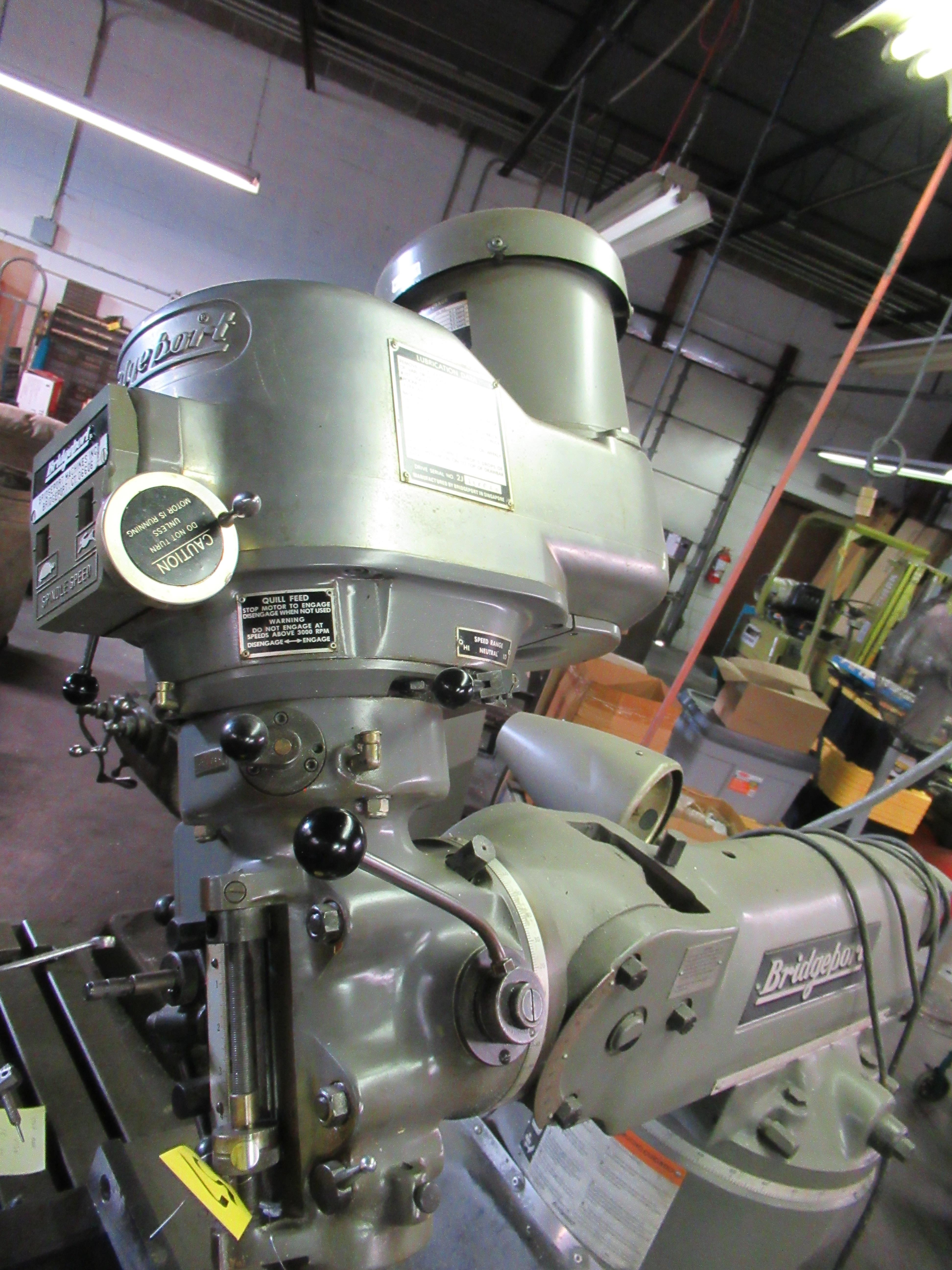 "BRIDGEPORT 2HP VERTICAL MILLING MACHINE, 9"" X 42"" TABLE, 60-4200 RPM, SERVO FEED TABLE, S/N: - Image 8 of 8"