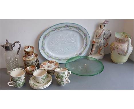 A good selection of assorted ceramics and glassware (within three boxes) to include a large 19th century Staffordshire figure