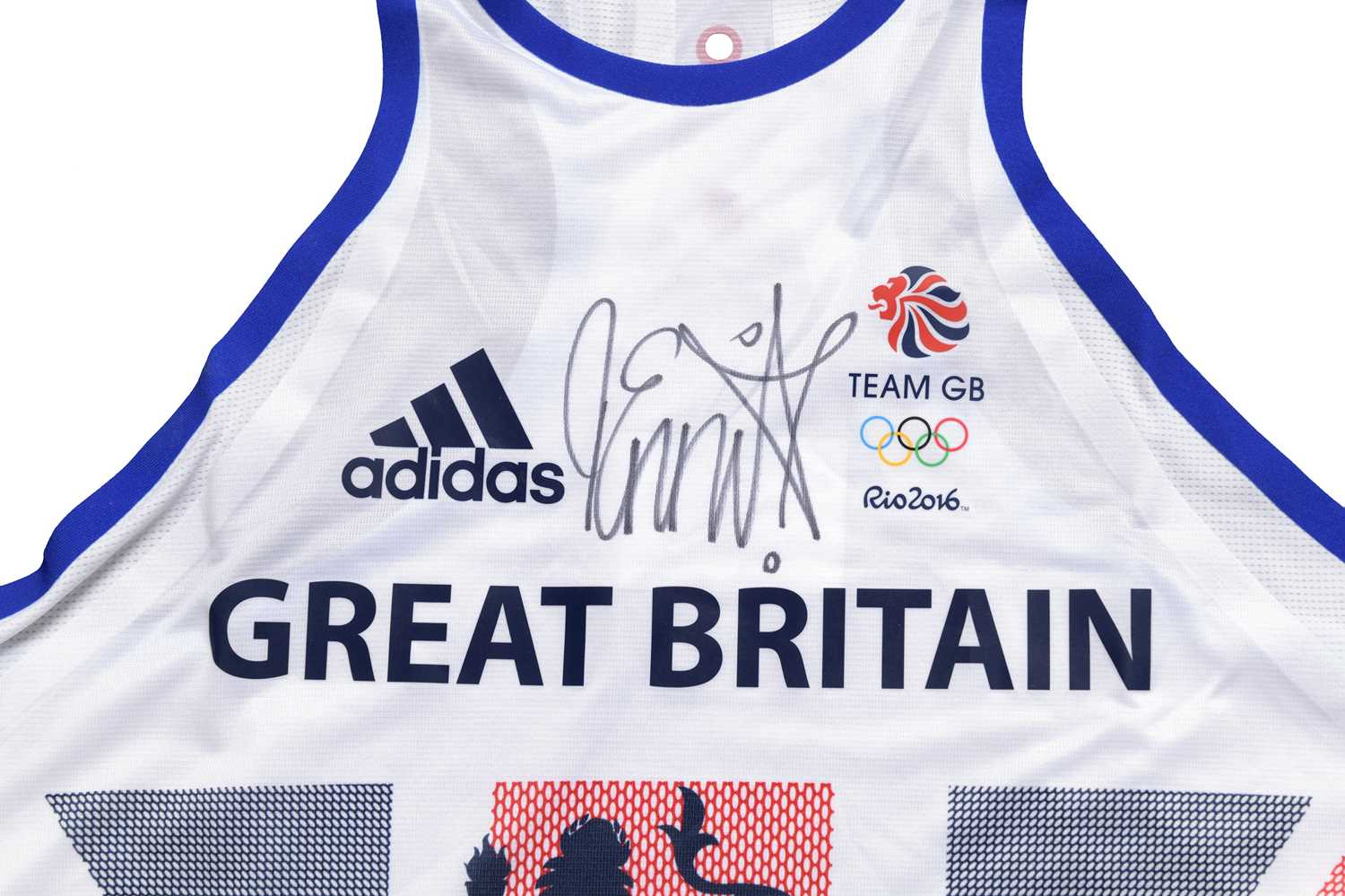 Signed Dame Jessica Ennis-Hill 2016 Team GB Rio Olympics Games Vest Olympic and triple world - Image 2 of 3