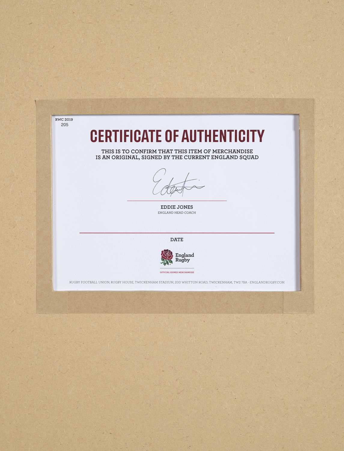 England Rugby Shirt Signed by the 2020 Team Official framed current England Rugby shirt which has - Image 2 of 2