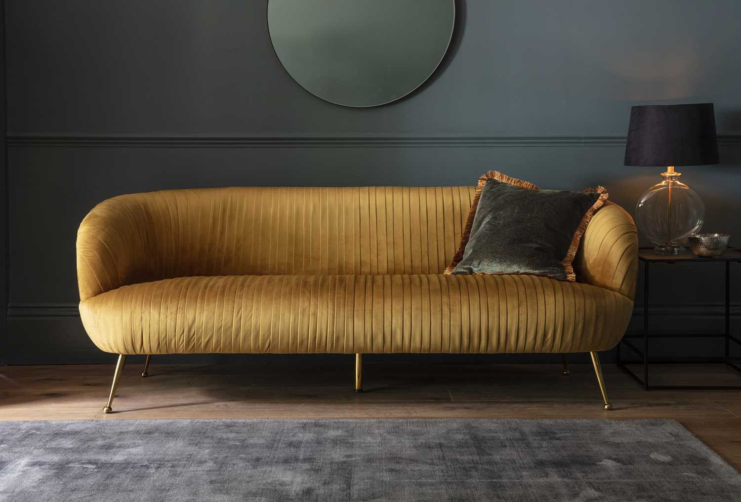 Direct Furniture Frank Hudson Gallery Valenza 3-Seater Sofa, Gold Velvet Fabric Whether you live