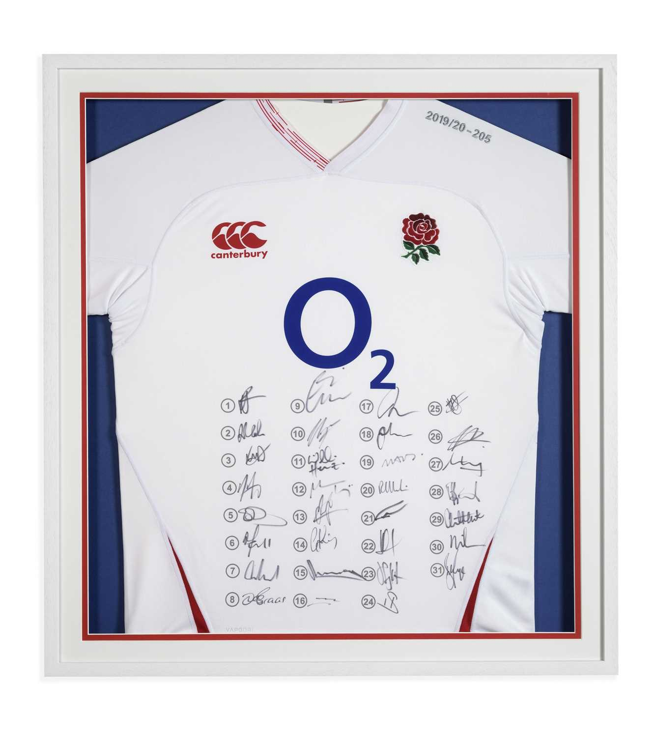 England Rugby Shirt Signed by the 2020 Team Official framed current England Rugby shirt which has
