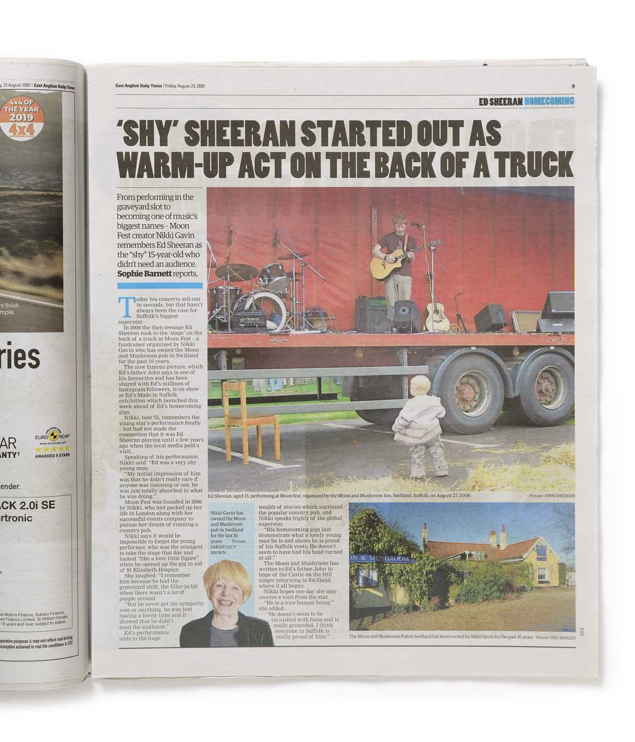 Signed Ed Sheeran Daily Times Newspaper, Friday 23 August 2019 An original copy of The East - Image 2 of 3