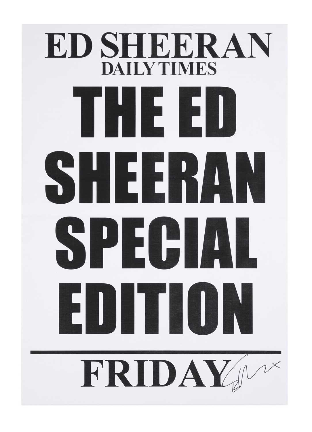 Ed Sheeran Daily Times Newspaper Billboard Poster, Friday 23 August 2019, Signed by Ed Sheeran On