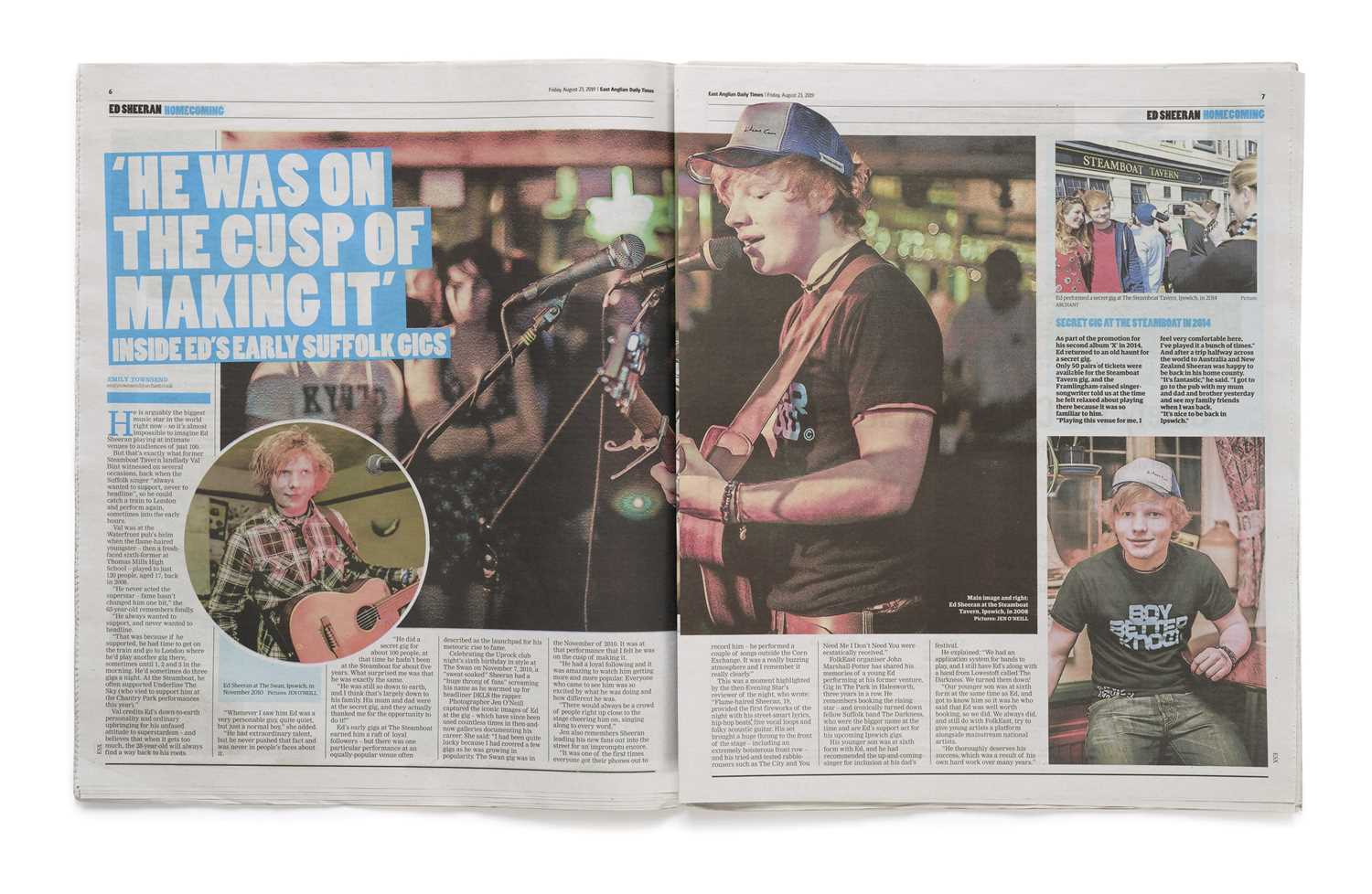 Signed Ed Sheeran Daily Times Newspaper, Friday 23 August 2019 An original copy of The East - Image 3 of 3