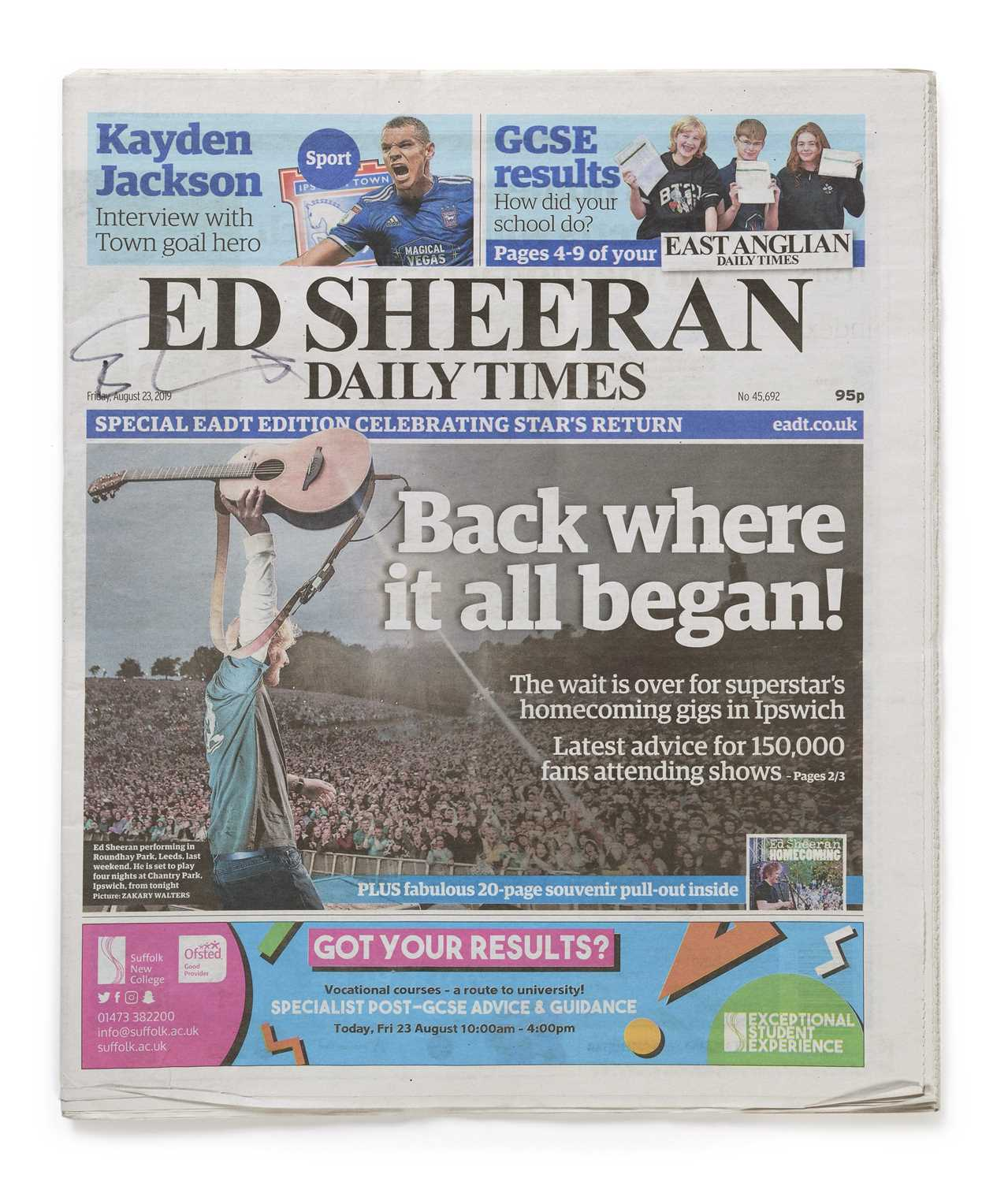 Signed Ed Sheeran Daily Times Newspaper, Friday 23 August 2019 An original copy of The East