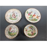 Lot 56 - A pair of Meissen rustic cups and saucers, each decorated with birds and sprigs (2)