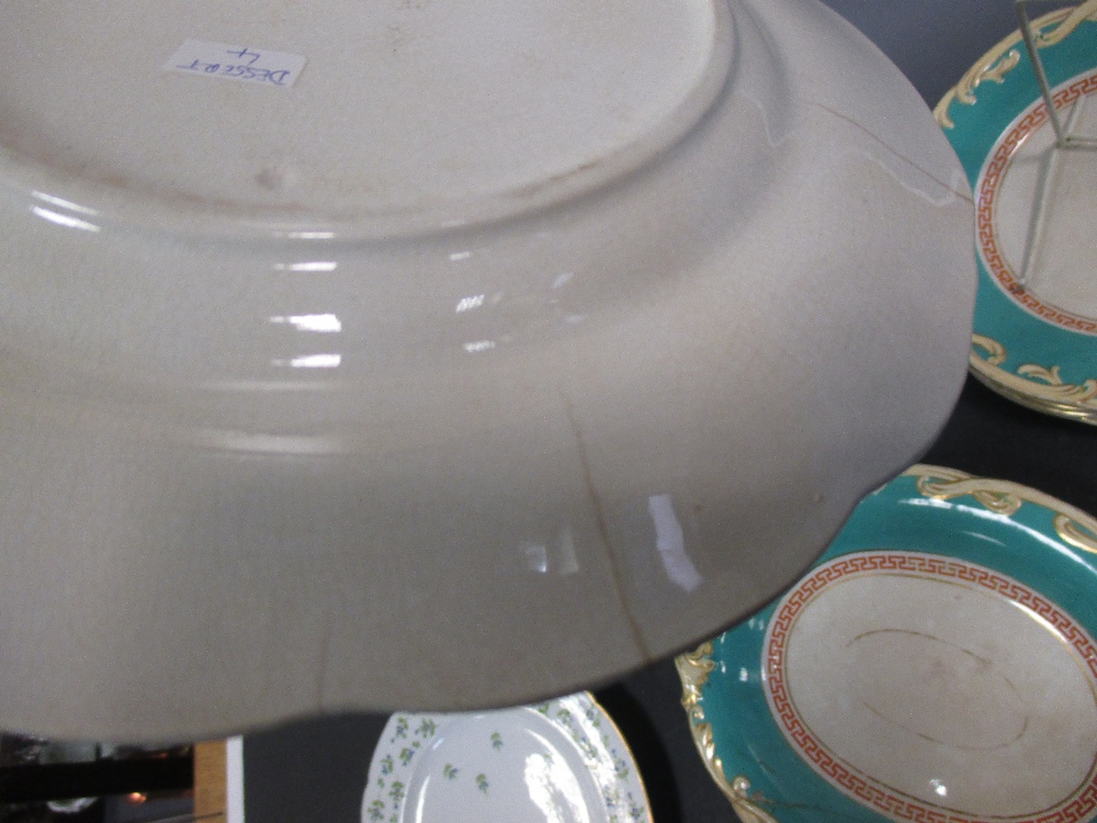 Lot 11 - A set of ten Paris 'Angouleme' sprig plates together with a pottery part dessert service (16) Five