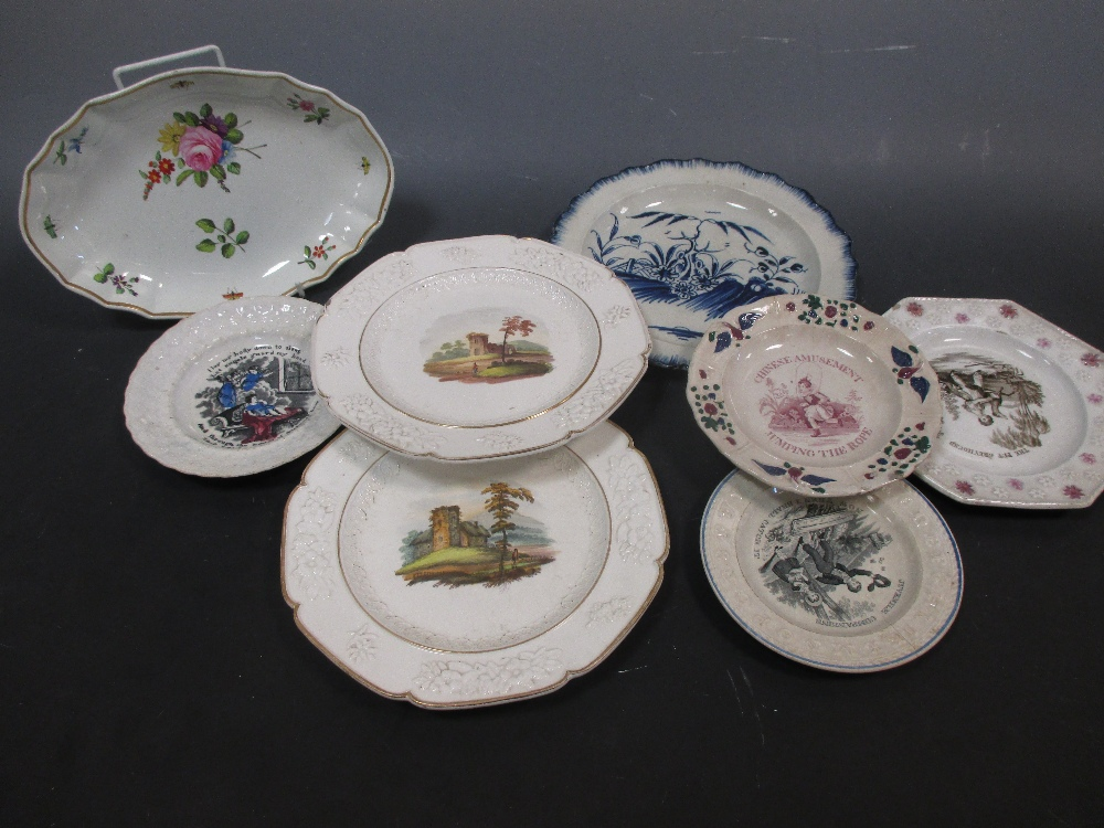 Lot 6 - Three creamware plates, four children's plates, a Spode oval plate and a blue and white plate