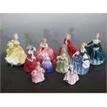 Lot 57 - Royal Doulton figures including - Victoria, Ninette, Janine, Hilary, Caroline, Rachel, Repose,