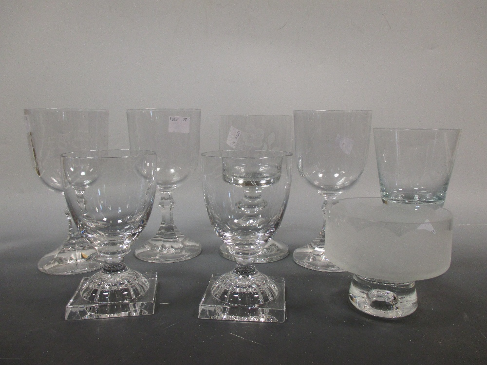 Lot 54 - A pair of William Yeoward rummers together with diamond point and engraved glasses by Ann Laing