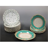 Lot 11 - A set of ten Paris 'Angouleme' sprig plates together with a pottery part dessert service (16) Five