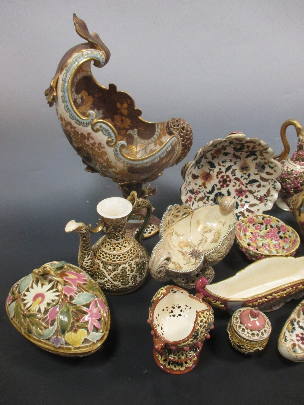 Lot 12 - A collection Zsolnay and Fischer wares, mostly reticulated