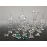 Lot 52 - A collection of glassware to include a glass sweetmeat dish and cover,(a/f), two smaller dishes