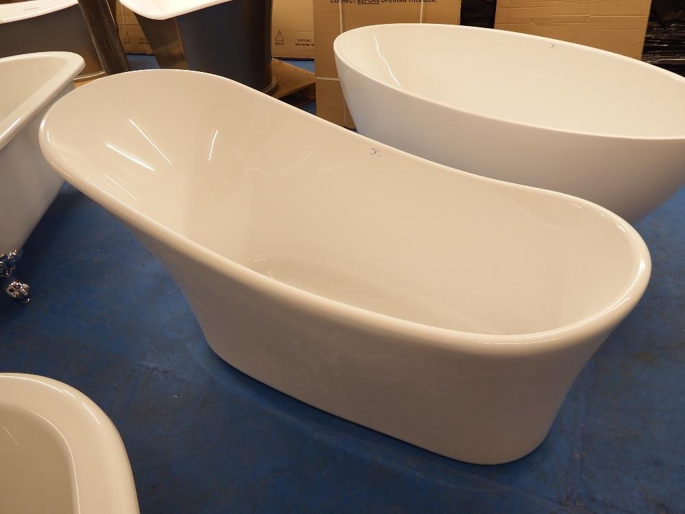 1600x680 Contemporary Slimline French Style Roll Top Slipper Bath B Grade S