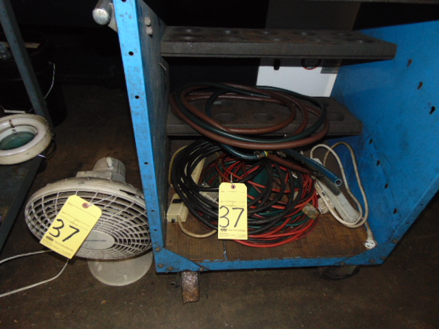 Lot 37 - LOT CONSISTING OF: electric cords & fan