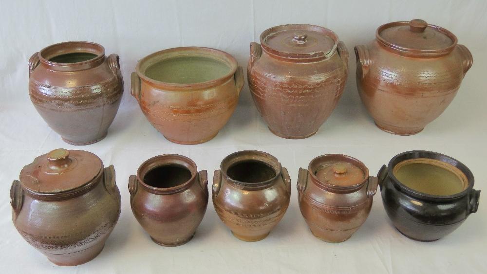 Lot 601 - A collection of salt glazed stoneware ja