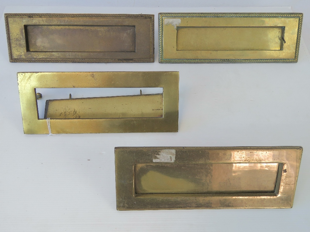 Lot 537 - Four brass letter plates, one a/f.