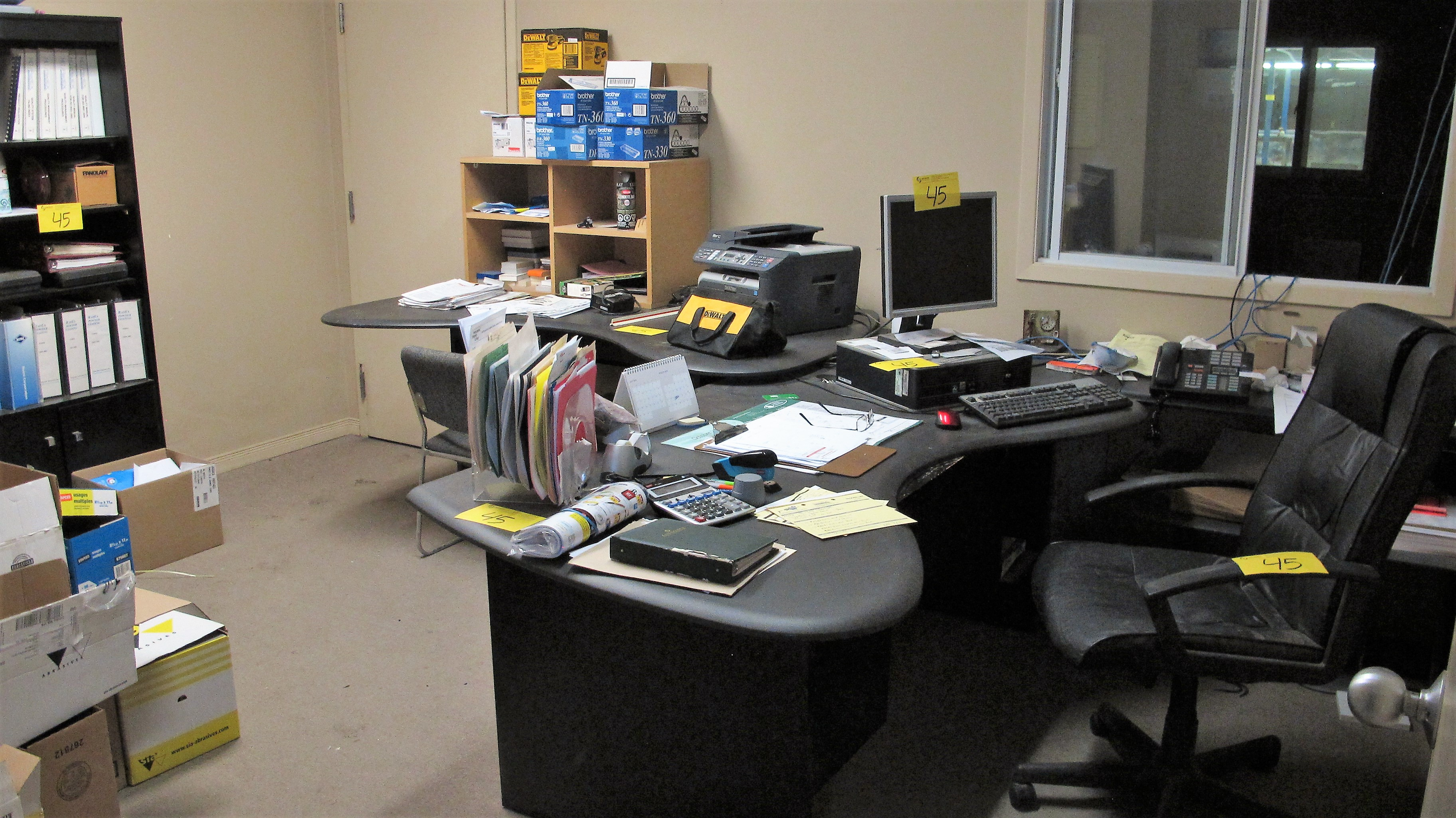 Lot 45 - LOOSE CONTENTS OF OFFICE INCLUDING DESKS, CHAIR, CABINETS, COMPUTER, MONITOR, PRINTER, BAR FRIDGE,