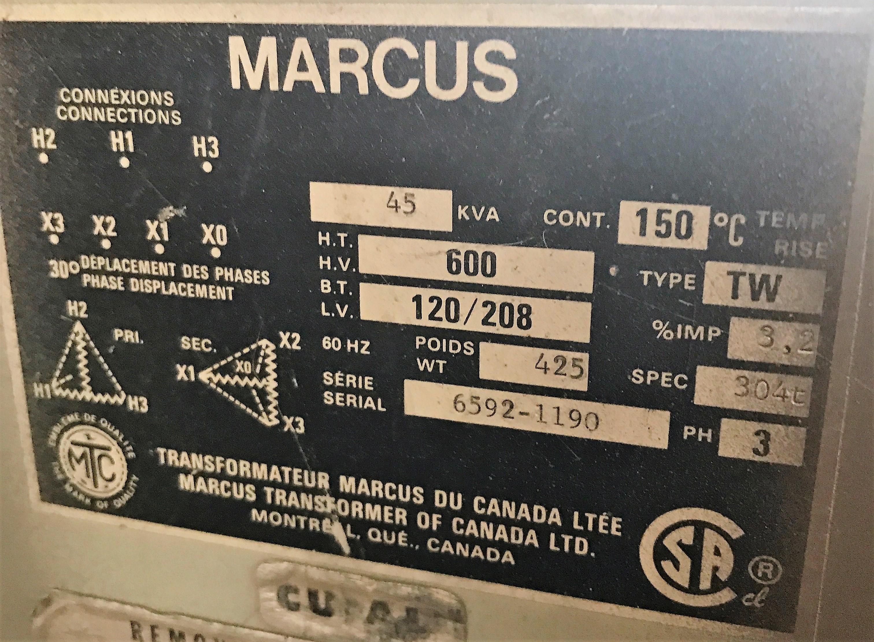 Lot 49 - MARCUS 45KVA 600V PRIMARY 120/208V SECONDARY ISOLATION TRANSFORMER