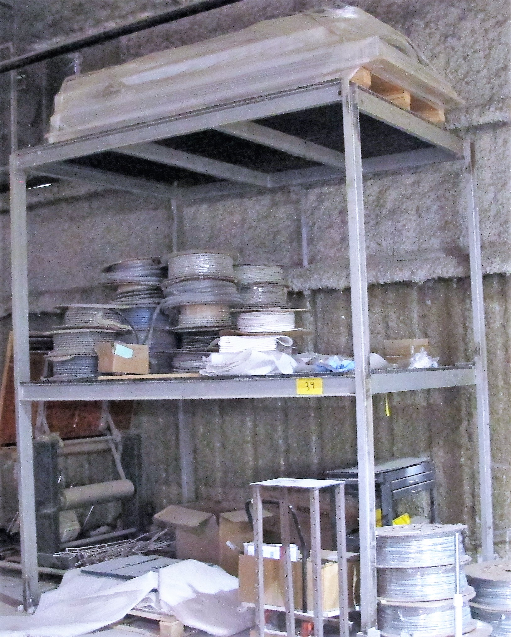 Lot 39 - 2-TIERED METAL RACK W/ CONTENTS