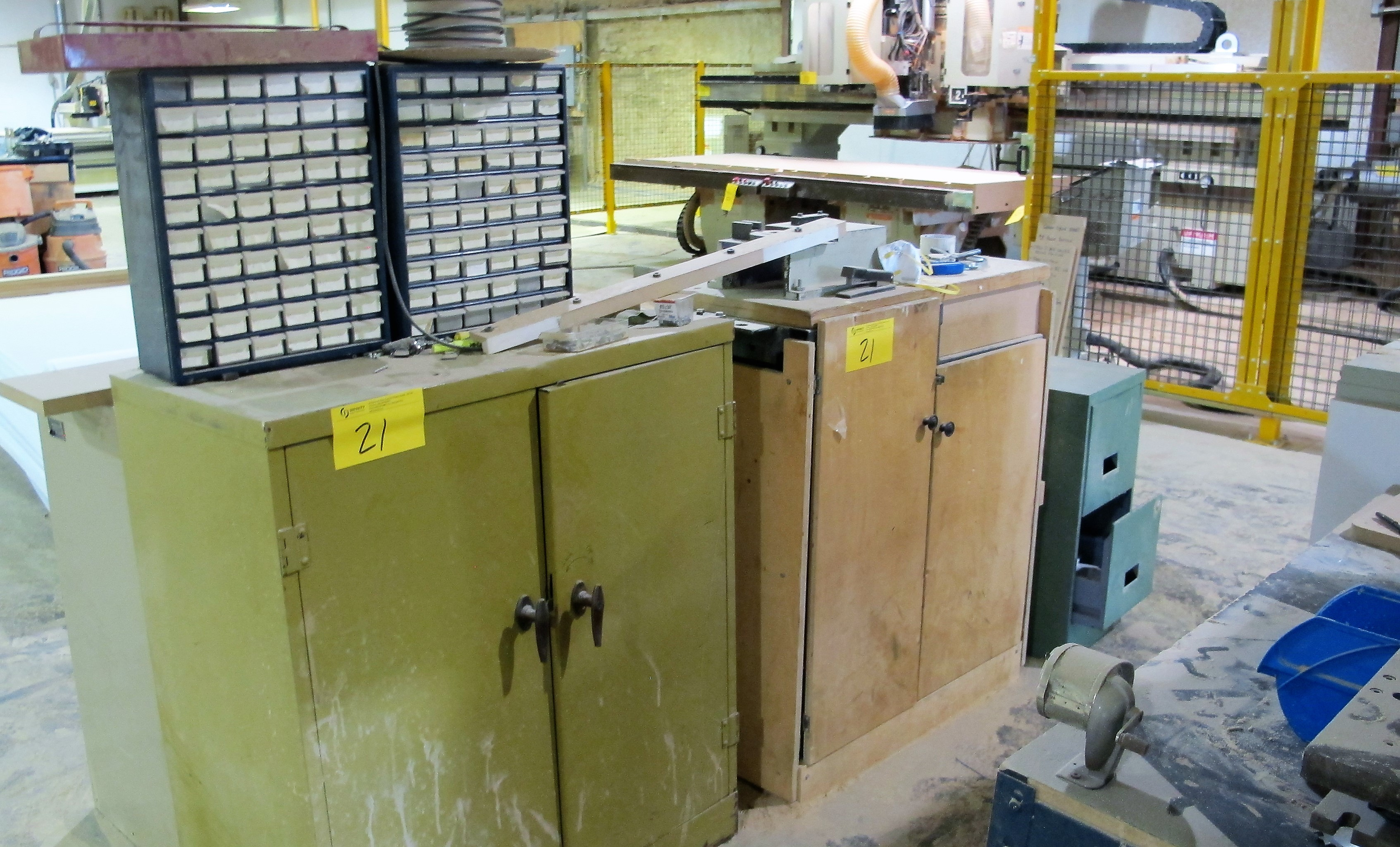 Lot 21 - LOT OF ASST. WORKBENCHES, METAL STORAGE CABINETS W/ CONTENTS, CUTTERS, PORTABLE LIGHT, ETC.
