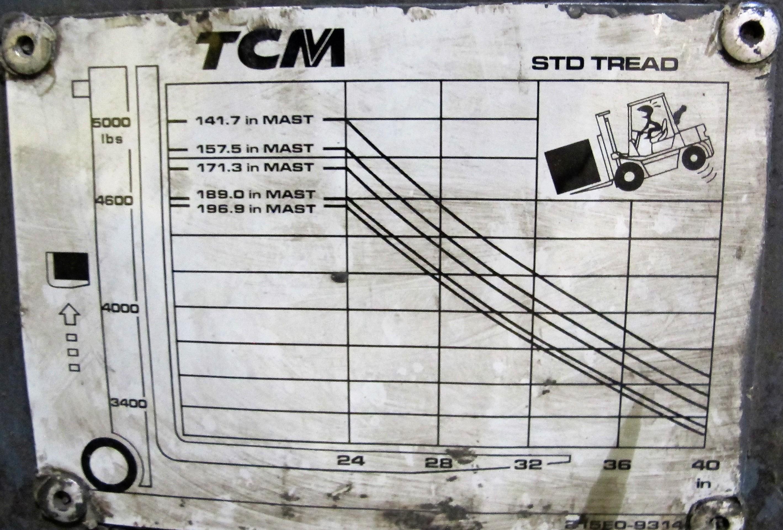 "Lot 9 - TCM FCG25F9 PROPANE FORKLIFT, 4,600LB CAP., 189"" MAX LIFT, 3 STAGE, SIDE SHIFT, CUSHION TIRE, S/N"
