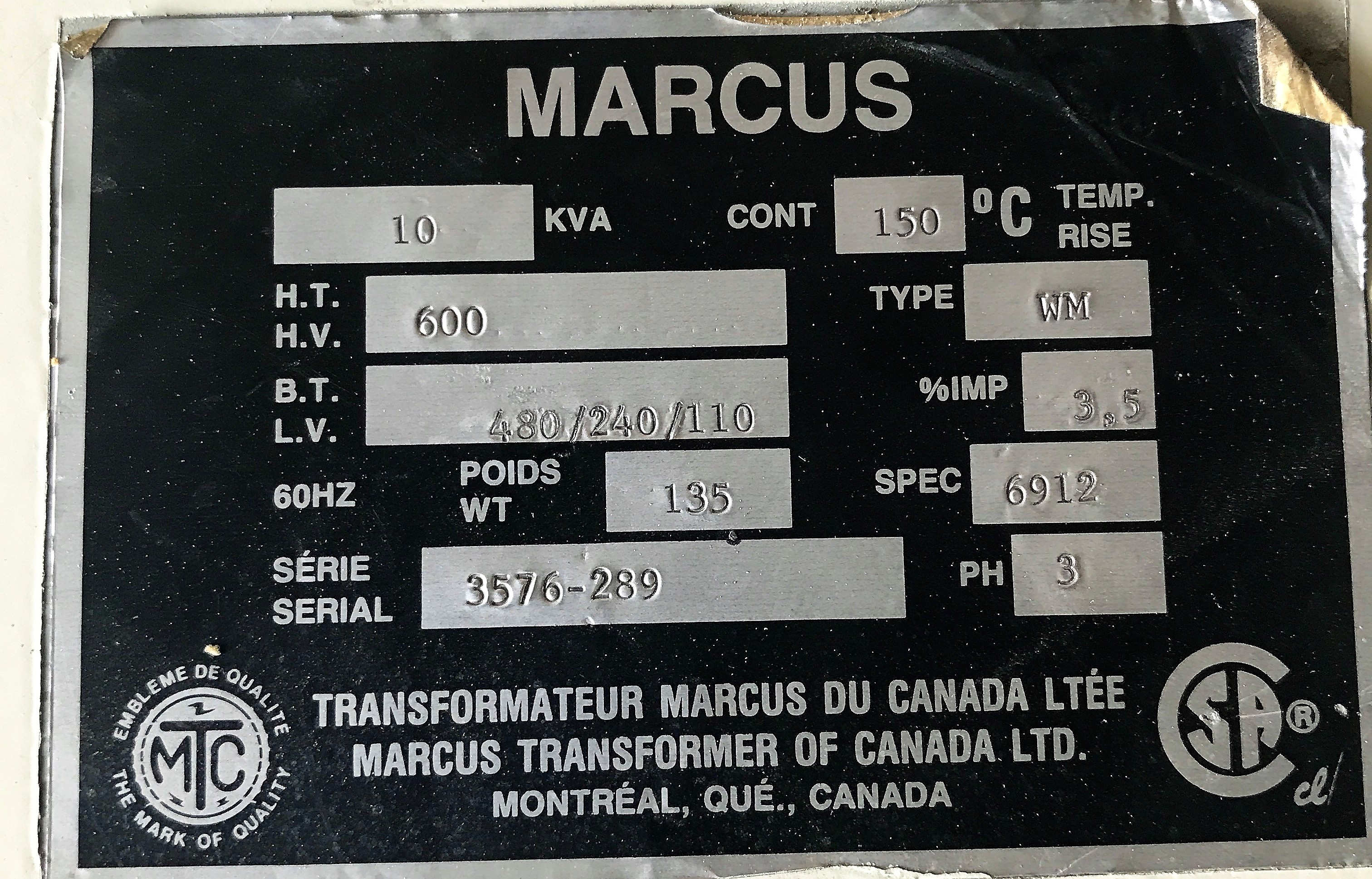 Lot 49A - MARCUS 10KVA 600V PRIMARY 480/240/110V SECONDARY ISOLATION TRANSFORMER