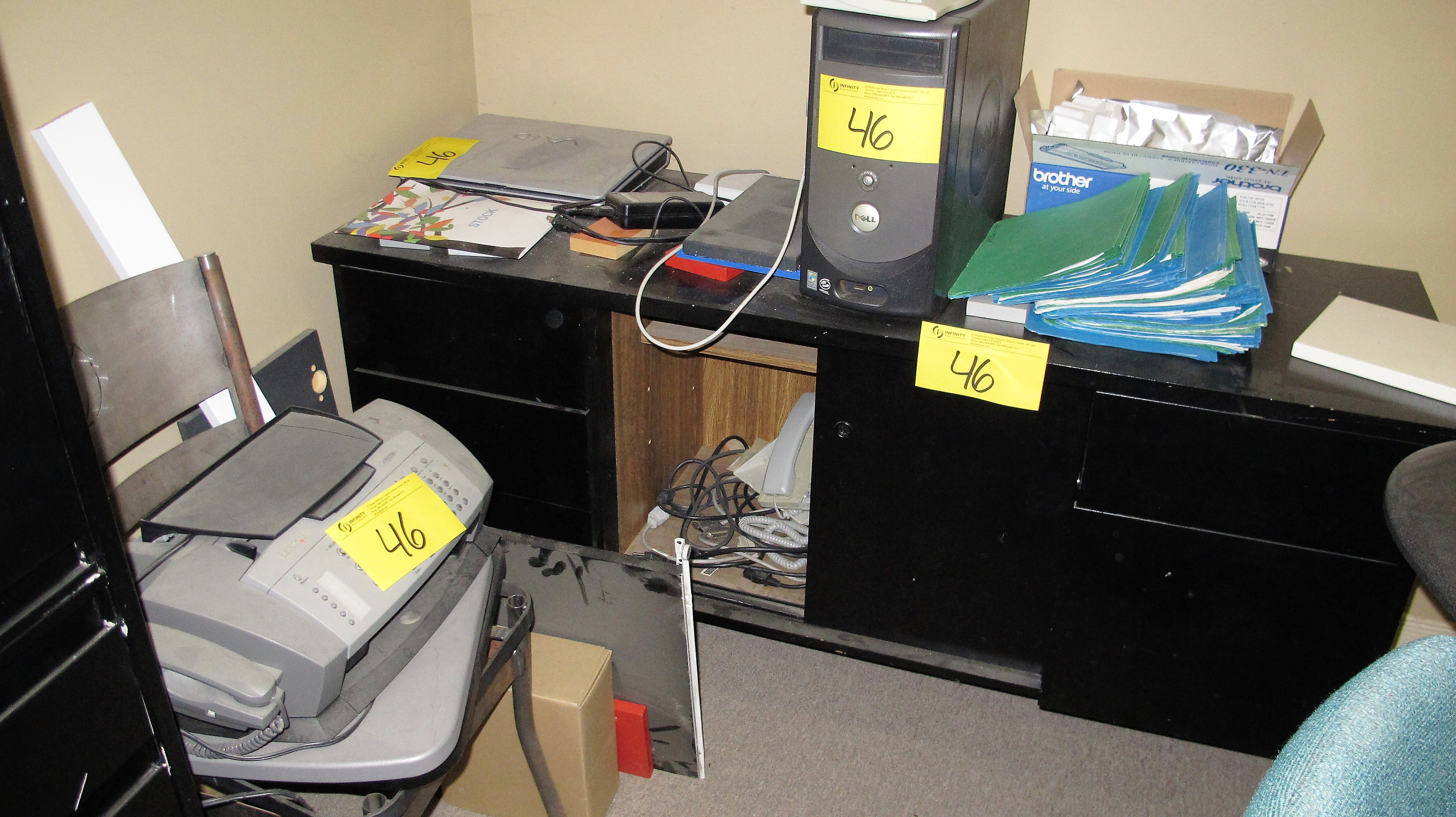 Lot 46 - LOOSE CONTENTS OF OFFICE INCLUDING DESKS, CHAIR, CABINETS, DIVIDER, COFFEE TABLE, FILE CABINET,