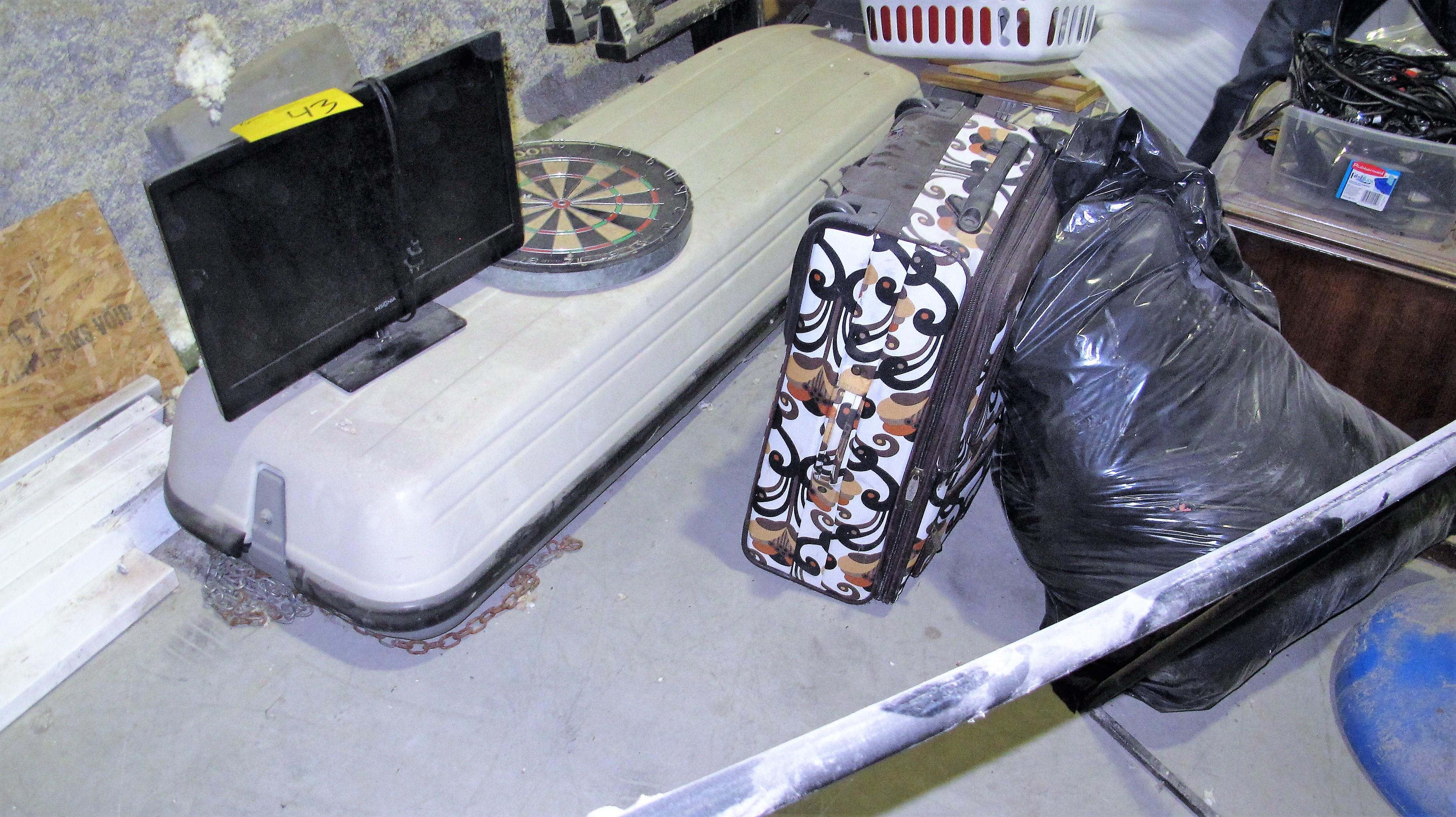 Lot 43 - LOT OF ASST. METAL RACKS, MOTORS, PUMPS, FLEXABLE HOSE, DOORS, WHEEL BARREL, A/C UNITS, CHEST