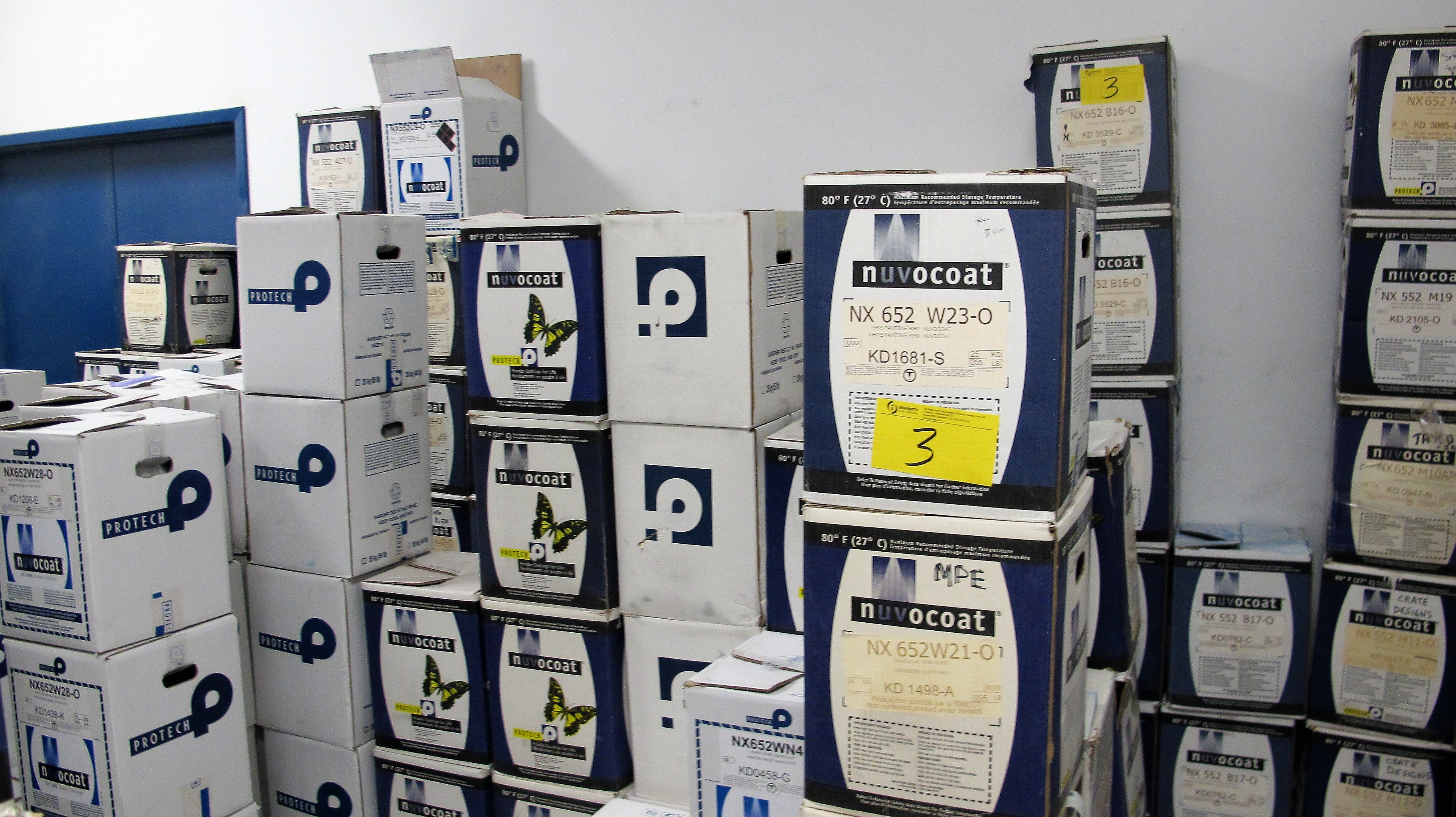Lot 3 - APPROX. (150) BOXES (3,500KG) OF ASST. POWDER COATING PAINT (NUVOCOAT, E-BOND, PROTECH, PRISM POWDER