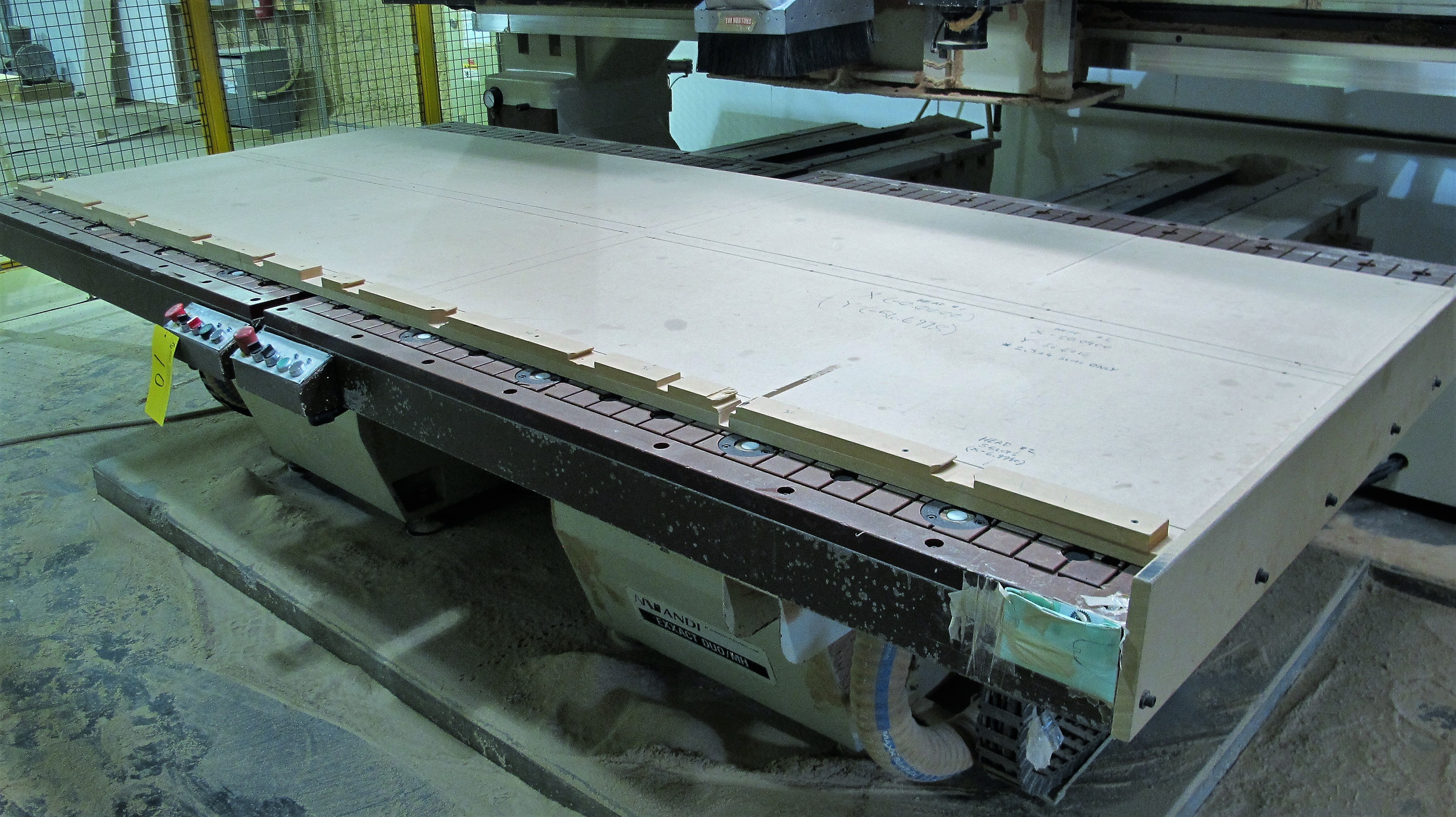 """Lot 10 - ANDERSON EXXACT DUO/MH CNC ROUTER, S/N 01-8820, 63"""" X 128"""" TABLE, FANUC SERIES 18M CONTROL, (2) HEAD"""