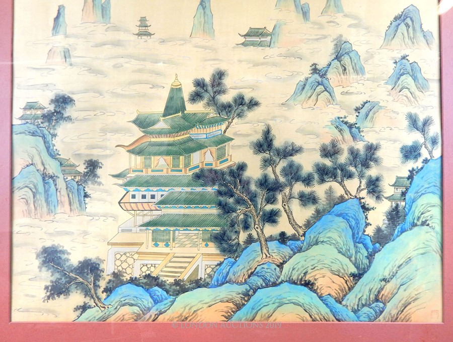 Lot 2 - A Paint On Silk Depicting A Castle On A Mountain.