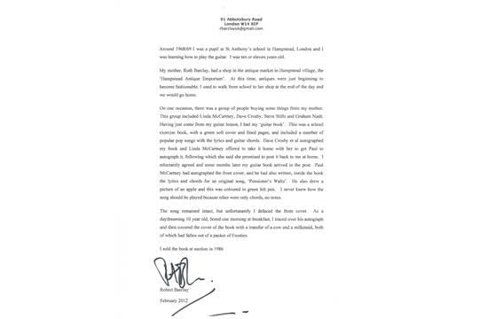A Paul Mccartney Handwritten Sheet Of Lyrics And Guitar Chords To