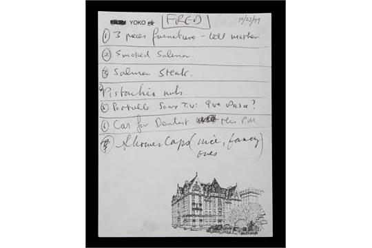 A handwritten list by John Lennon and Yoko Ono in black pen