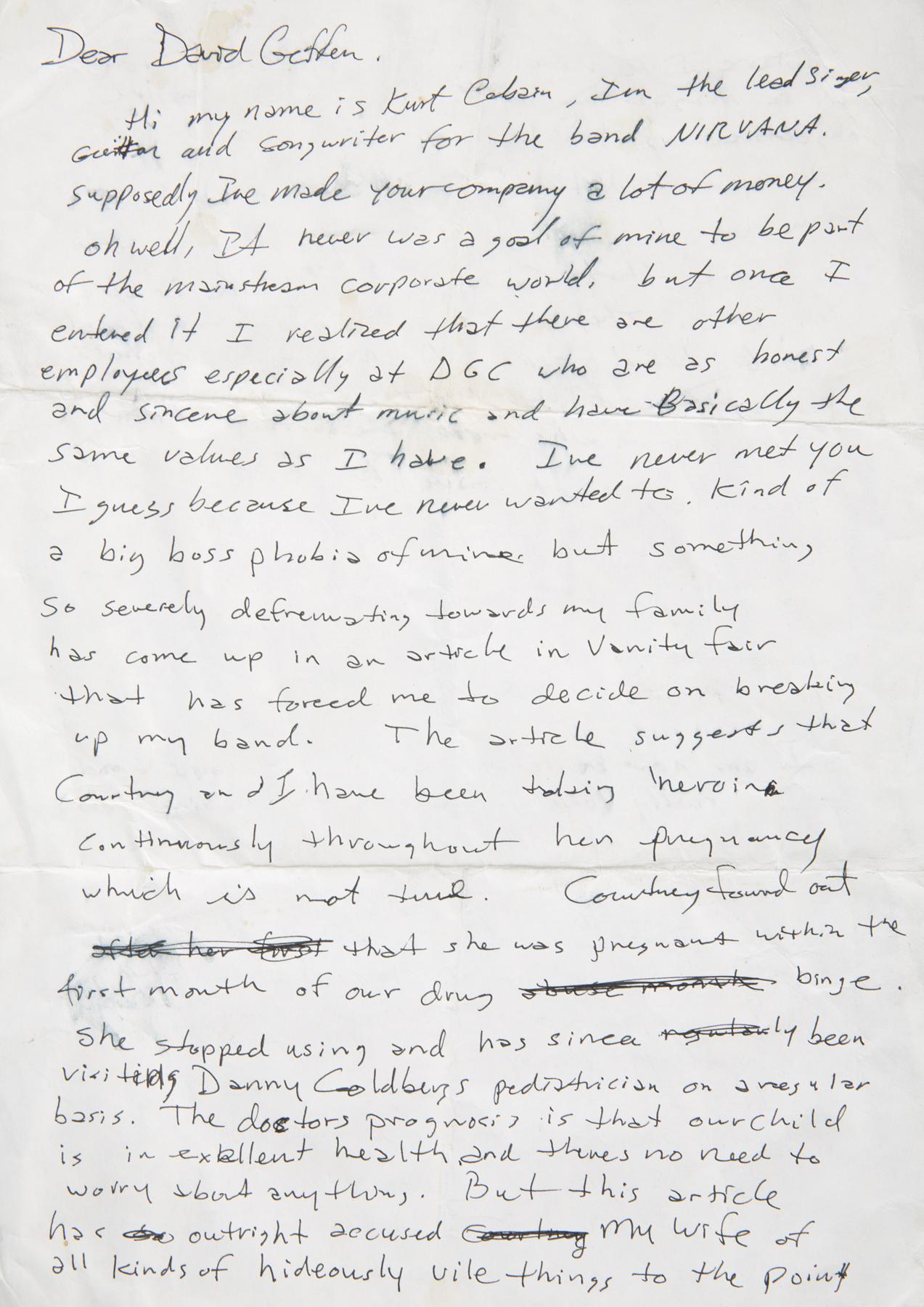 A single sheet two sided handwritten letter by Kurt Cobain